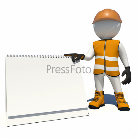 Worker in overalls holding empty loose-leaf calendar. Isolated