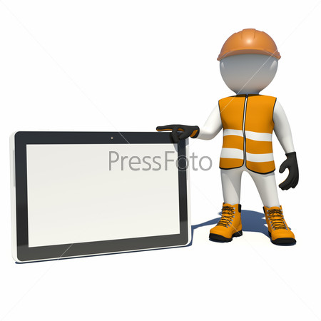 Worker in overalls holding tablet pc with empty touch screen. Isolated