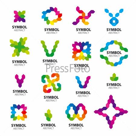 big set of vector logos abstract modules