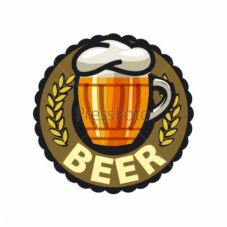 vector logo beer in a glass mug