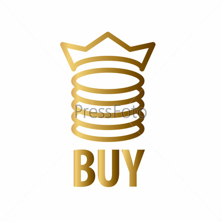 vector logo gold coins and crown
