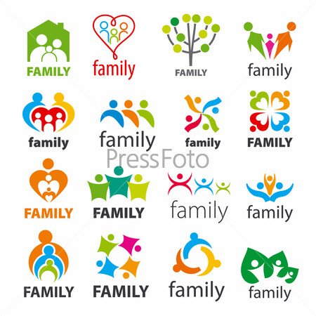 large collection of vector logos family