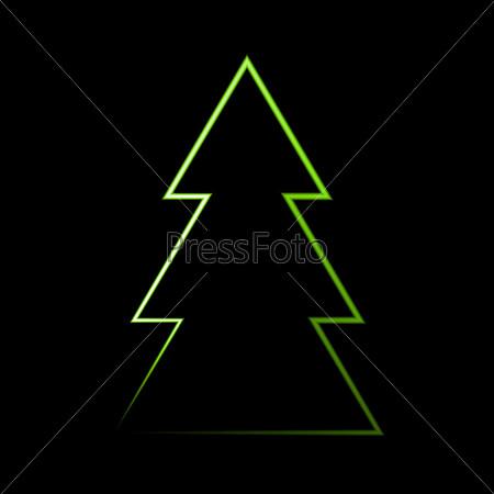 neon light christmas tree in vector format