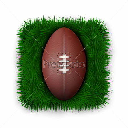 Icon Classic rugby ball on green grass.