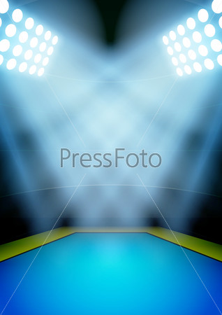 Background for posters night gymnastics stadium in the spotlight.