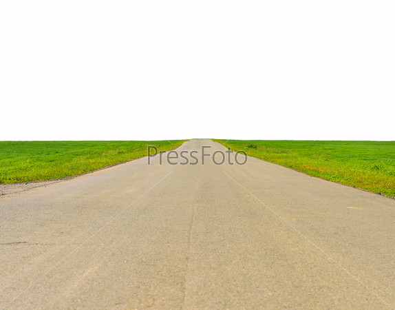 Old road, roadsides and green grass field. Isolated