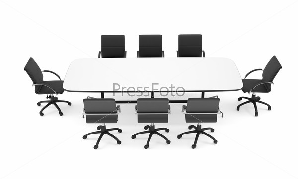 Conference table and black office chairs. Top view. Isolated