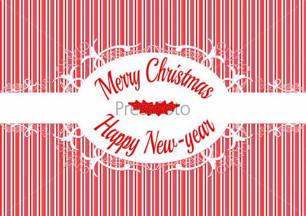 Candy cane label Merry christmas and happy new year