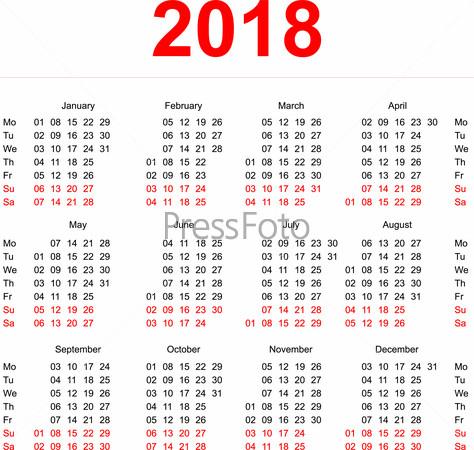 Календарь на 2018 годы на русском