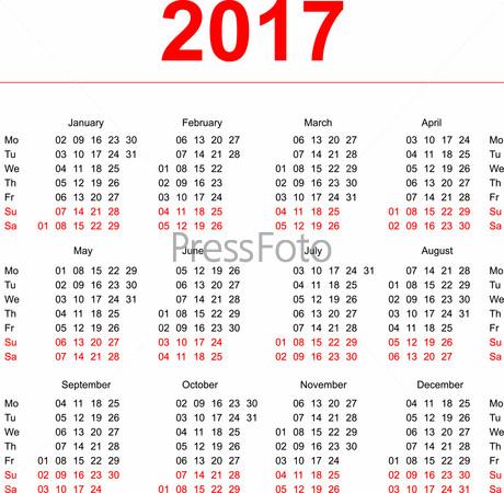 скачать шаблоны календарей на 2017 год