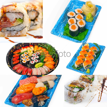 Japanese sushi collage