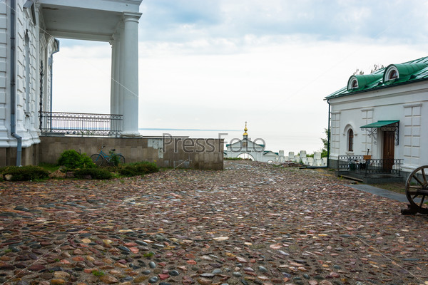 The cobblestones in the courtyard of the Church.