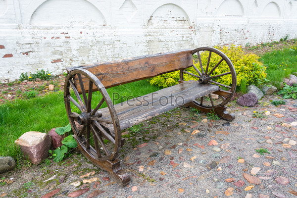 A wooden bench to rest.