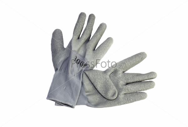 Мужские рабочие перчатки на белом фоне