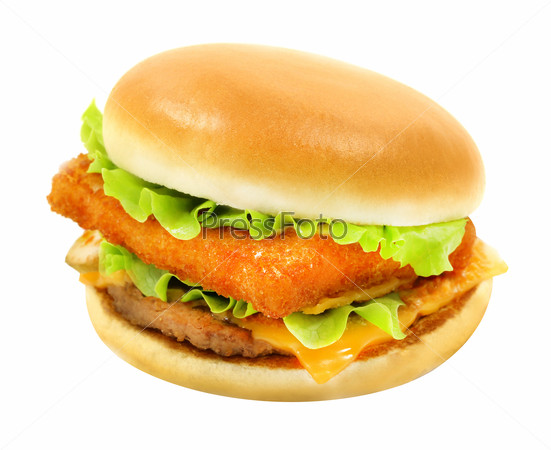 tasty Burger with meat and fish