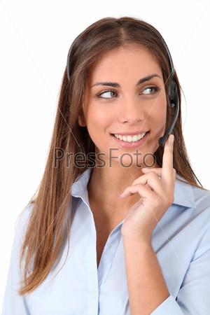 Женщина с гарнитурой