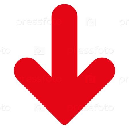 Фотография на тему Стрелка вниз плоские красные цвета значка ...