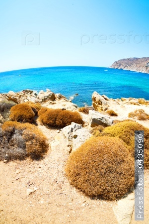 in greece the mykonos island rock sea and beach blue   sky