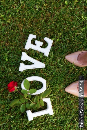 Love sign with rose