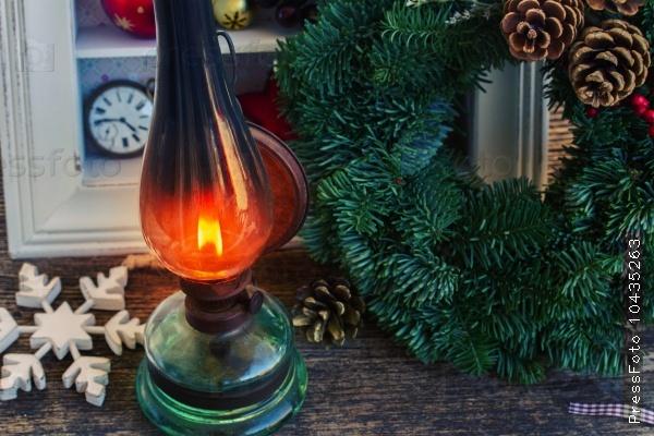 vintage lantern with christmas wreath