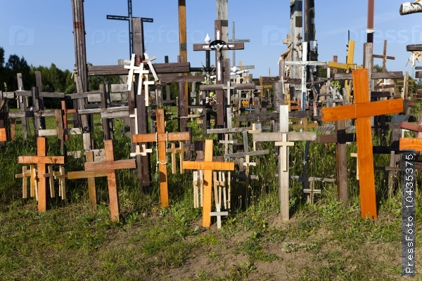 wooden crosses.  close-up