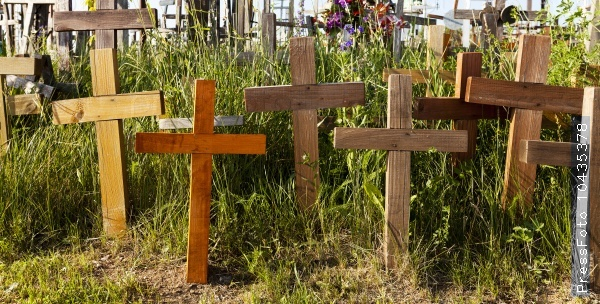 wooden crosses  close-up
