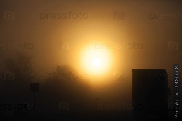foggy morning .  truck
