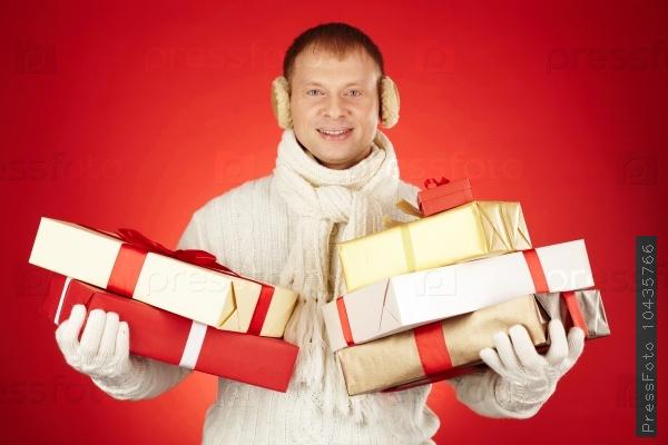 Man with xmas presents