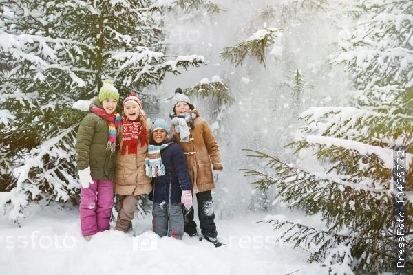 Friends in winter forest