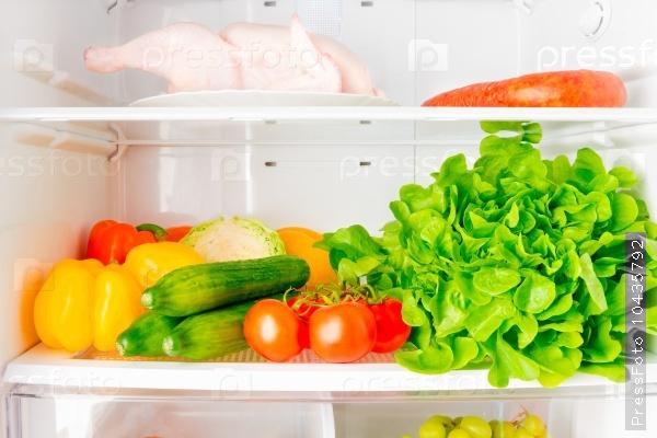 full shelf of the refrigerator