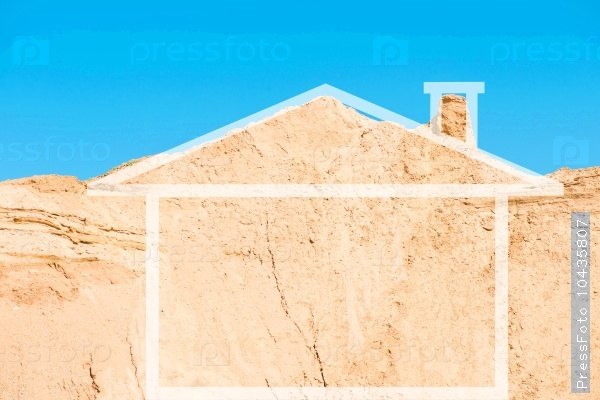 Conceptual image of the house. Mountain sandy area in the form o
