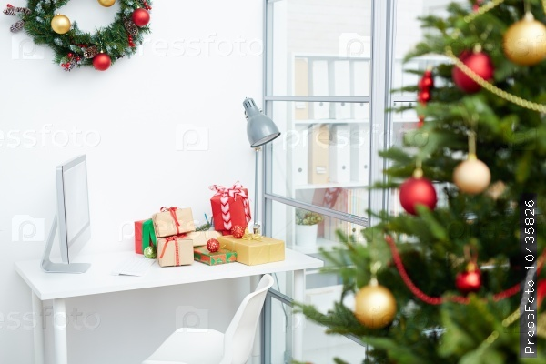Workplace with gifts