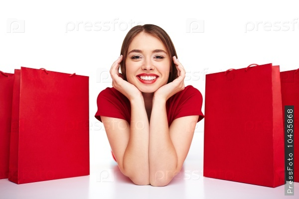 Girl between paperbags