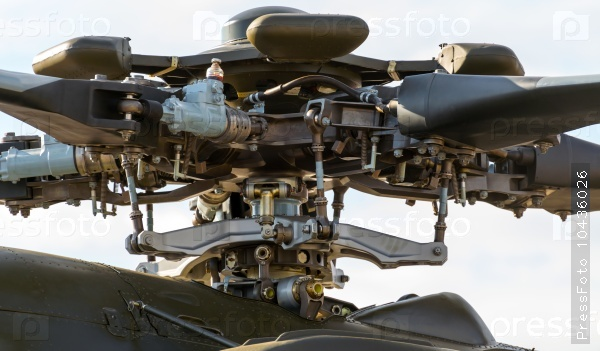 The rotor mechanism of a helicopter