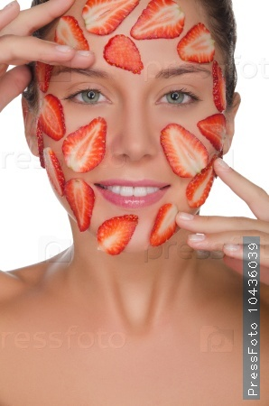 smiling woman with mask of strawberries