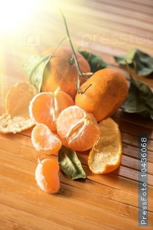 Ripe tangerines on wooden