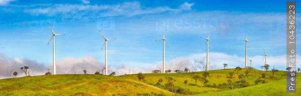 Horizontal Axis Wind Turbines. Panorama