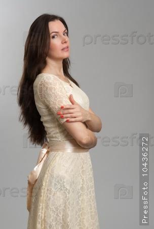 Fashion model wearing dress