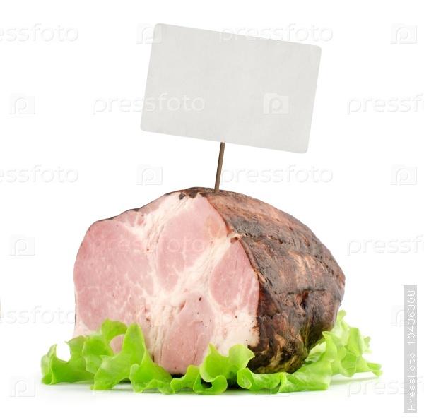 smoked ham with price tag