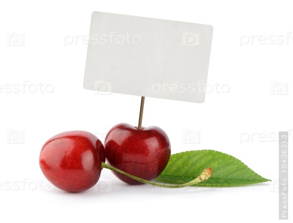 Ripe cherry berries with price tag