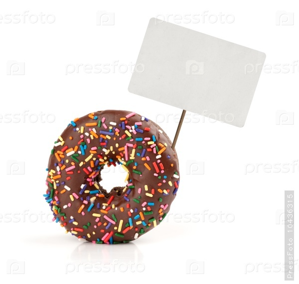 chocolate doughnut with price tag