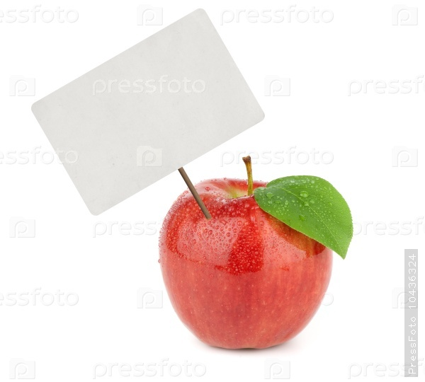 Ripe red apple with price tag