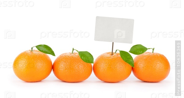 fresh orange tangerine with price tag