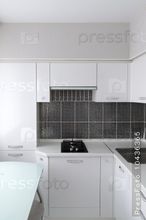 Kitchen interior in black and white colors