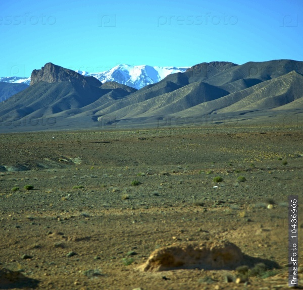 valley hill   in   africa morocco the atlas dry mountain ground