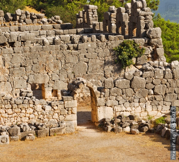 ruins stone and theatre in  antalya  arykanda turkey asia sky a