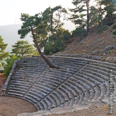 ruins stone and theatre in  antalya  arykanda turkey asia sky a