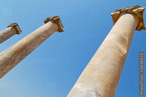 column in old  temple and theatre in ephesus   antalya turkey as