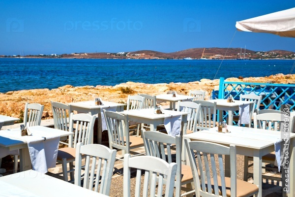 table in santorini europe greece old restaurant chair   summer