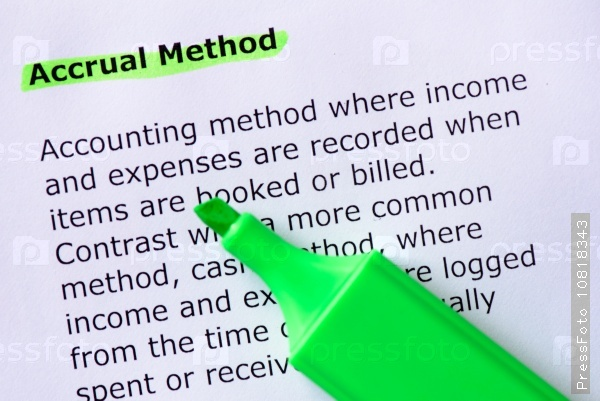 """accrual method It is the method used by most individual taxpayers, including sole proprietorships taxpayers using an accrual method generally accrue items of income when """"all the events"""" have occurred that fix the right to receive the income, and the amount of the income can be determined with reasonable accuracy."""